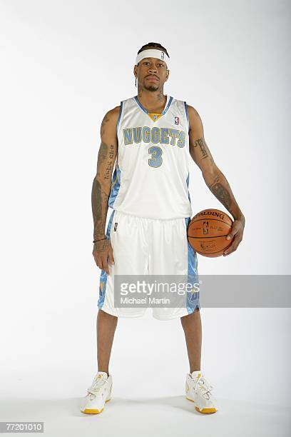 Allen Iverson of the Denver Nuggets poses for a portrait during NBA Media Day at the Pepsi Center on October 1 2007 in Denver Colorado NOTE TO USER...