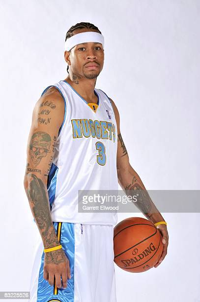 Allen Iverson of the Denver Nuggets poses for a portrait during NBA Media Day at the Pepsi Center on September 29 2008 in Denver Colorado NOTE TO...
