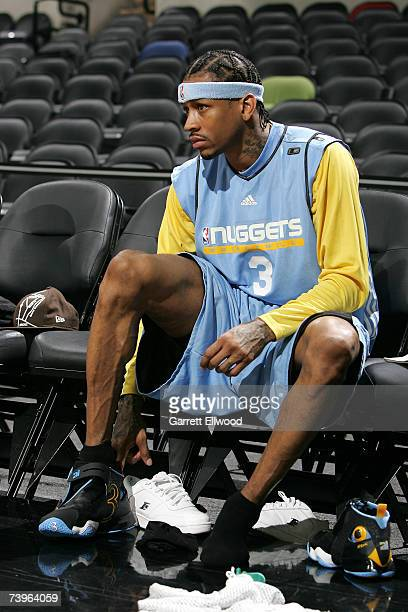 Allen Iverson of the Denver Nuggets prepares for practice between Game One and Game Two of the Western Conference Quarterfinals against the San...