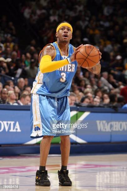 Allen Iverson of the Denver Nuggets puts up a shot against the Golden State Warriors during the game on December 28 2007 at ORACLE Arena in Oakland...