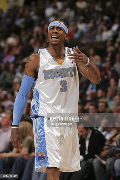 Allen Iverson of the Denver Nuggets reacts against the Memphis Grizzlies at the Pepsi Center January 22 2007 in Denver Colorado NOTE TO USER User...