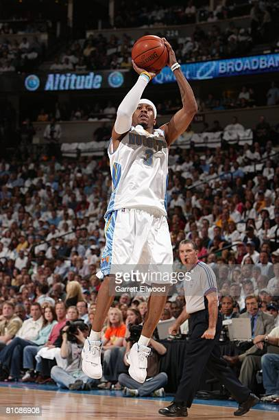 Allen Iverson of the Denver Nuggets shoots a jump shot in Game Four of the Western Conference Quarterfinals against the Los Angeles Lakers during the...