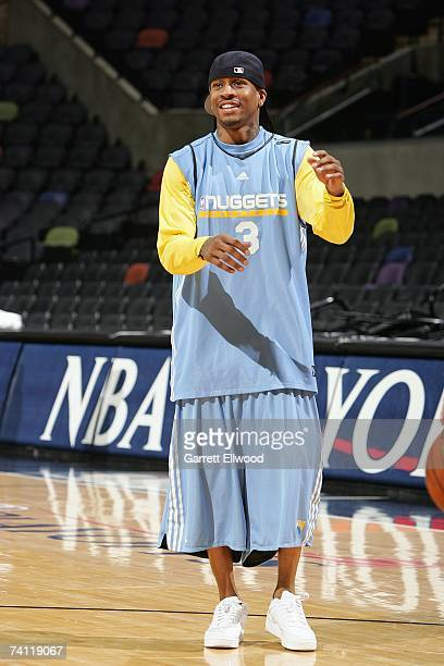 Allen Iverson of the Denver Nuggets smiles during practice for the Western Conference Quarterfinals against the San Antonio Spurs during the 2007 NBA...