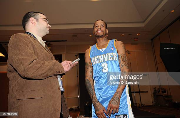 Allen Iverson of the Denver Nuggets speaks to nbacom during All Star Media Availability on February 15 2008 at the Sheraton New Orleans in New...