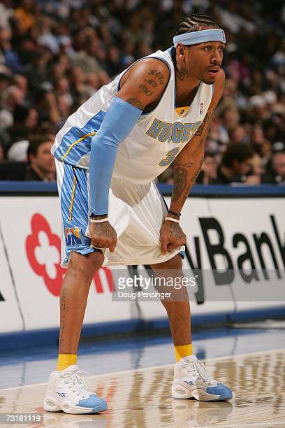 Allen Iverson of the Denver Nuggets stands on the court during the NBA game against the Memphis Grizzlies at the Pepsi Center on January 22 2007 in...