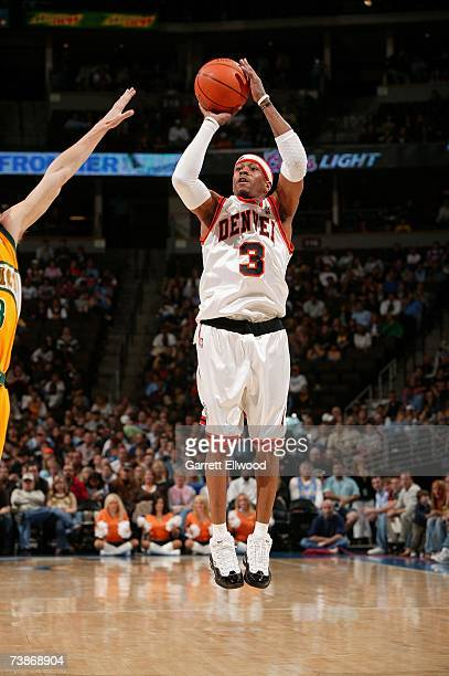 Allen Iverson of the Denver Nuggets takes a jump shot against the Seattle SuperSonics during the game at the Pepsi Center on March 28 2007 in Denver...