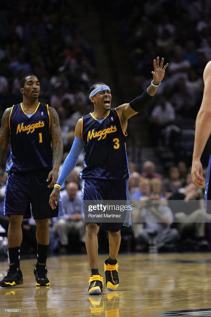 Allen Iverson #3 of the Denver Nuggets walks upcourt against the San Antonio Spurs in Game Two of the Western Conference Quarterfinals during the 2007 NBA Playoffs at AT&T Center on April 25, 2007 in San Antonio, Texas. The Spurs won 97-88.