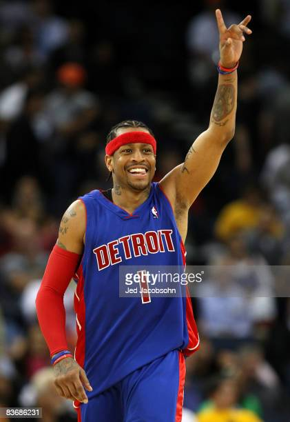 Allen Iverson of the Detroit Pistons celebrates in the fourth quarter against the Golden State Warriors during an NBA game on November 13 2008 at...