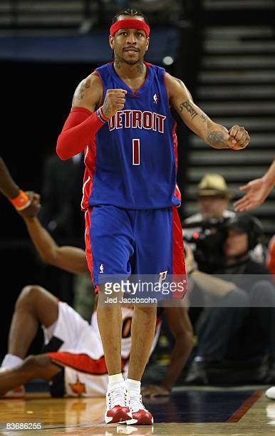 Allen Iverson of the Detroit Pistons celebrates in the third quarter against the Golden State Warriors during an NBA game on November 13 2008 at...