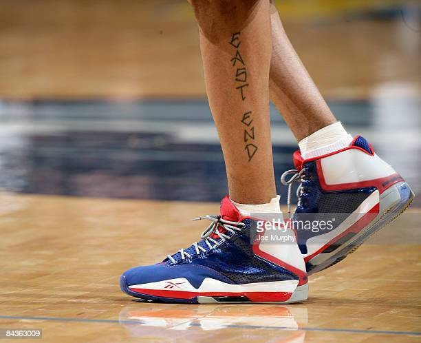Allen Iverson of the Detroit Pistons debuts his new Reebok shoes in a game against the Memphis Grizzlies on January 19 2009 at FedExForum in Memphis...