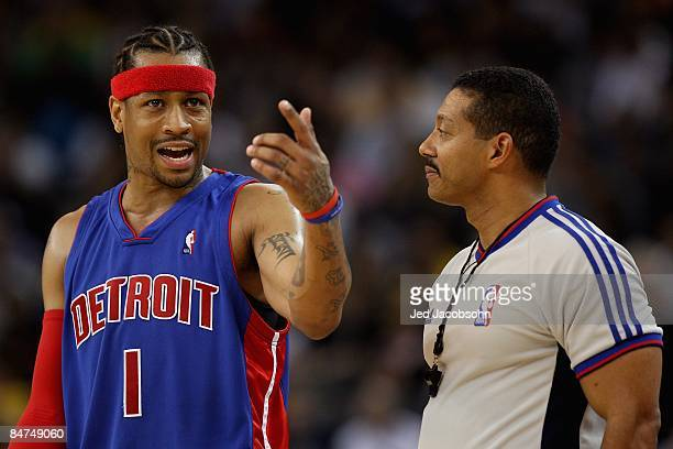 Allen Iverson of the Detroit Pistons discusses a call with referee Bill Kennedy during the game against the Golden State Warriors on November 13 2008...