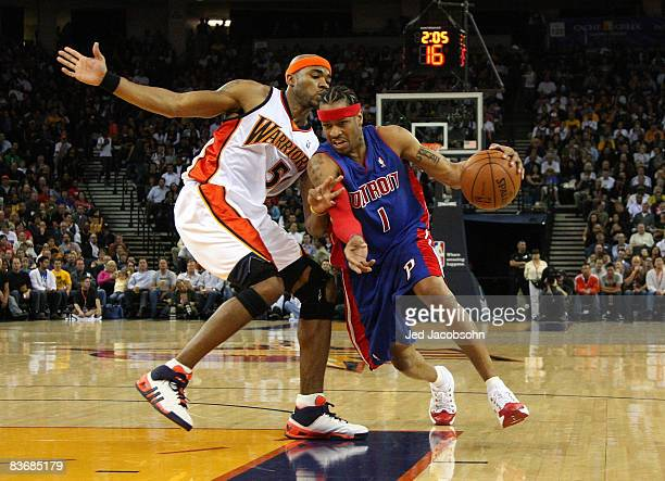 Allen Iverson of the Detroit Pistons drives against Corey Maggette of the Golden State Warriors during an NBA game on November 13 2008 at Oracle...