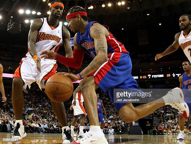 Allen Iverson of the Detroit Pistons drives against Stephen Jackson of the Golden State Warriors during an NBA game on November 13 2008 at Oracle...