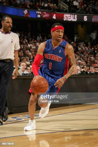 Allen Iverson of the Detroit Pistons drives against the Cleveland Cavaliers during the game on March 31 2009 at Quicken Loans Arena in Cleveland Ohio...