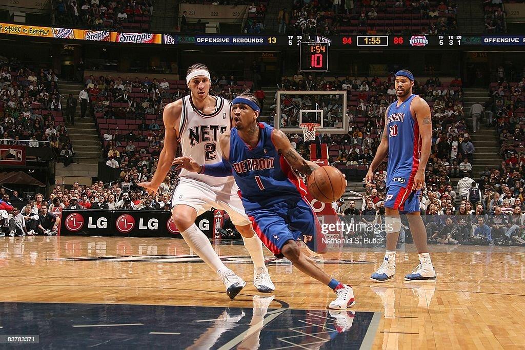 wholesale dealer 9defe 8cad5 Allen Iverson of the Detroit Pistons drives past Josh Boone ...