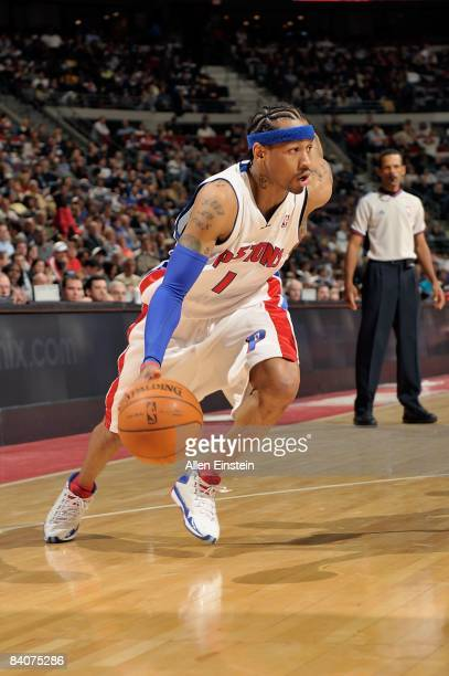 Allen Iverson of the Detroit Pistons drives the ball to the basket during the game against the Indiana Pacers at The Palace of Auburn Hills on...