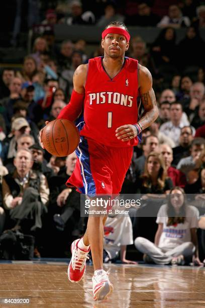 Allen Iverson of the Detroit Pistons drives the ball up court during the game against the New York Knicks on December 7 2008 at Madison Square Garden...