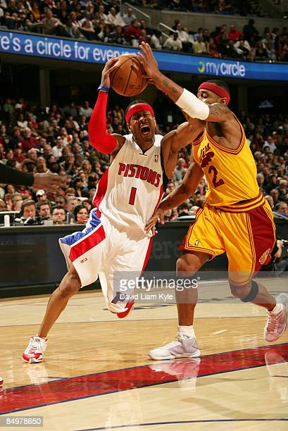 Allen Iverson of the Detroit Pistons drives to the basket and is fouled by Mo Williams of the Cleveland Cavaliers at The Quicken Loans Arena on...
