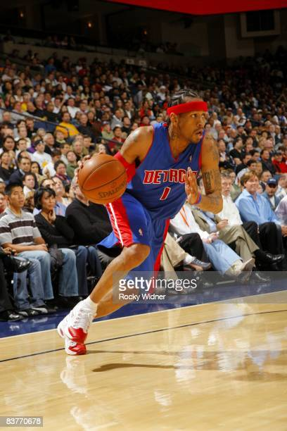 Allen Iverson of the Detroit Pistons drives to the basket during the game against the Golden State Warriors at Oracle Arena on November 13 2008 in...