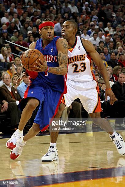 Allen Iverson of the Detroit Pistons drives to the basket past CJ Watson of the Golden State Warriors during the game on November 13 2008 at Oracle...