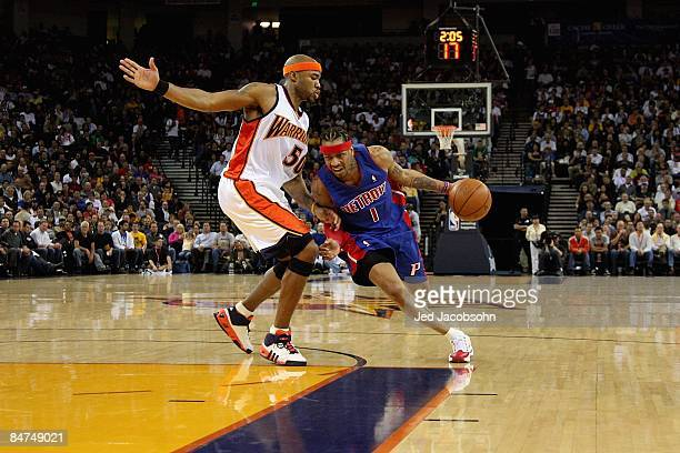 Allen Iverson of the Detroit Pistons drives to the basket past Corey Maggette of the Golden State Warriors during the game on November 13 2008 at...