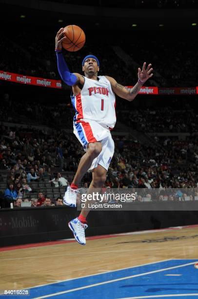 Allen Iverson of the Detroit Pistons goes up for a layup during a game against the Indiana Pacers in a game at the Palace of Auburn Hills on December...