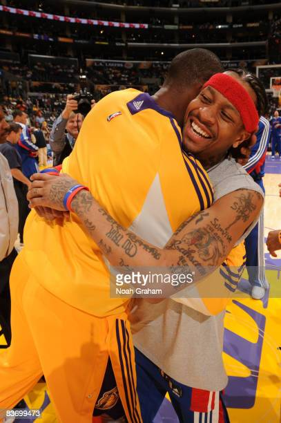 Allen Iverson of the Detroit Pistons hugs Kobe Bryant of the Los Angeles Lakers before their game at Staples Center on November 14 2008 in Los...