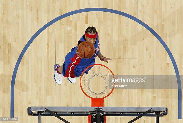 Allen Iverson of the Detroit Pistons lays up a shot during the game against the Charlotte Bobcats on December 13 2008 at Charlotte Bobcats Arena in...