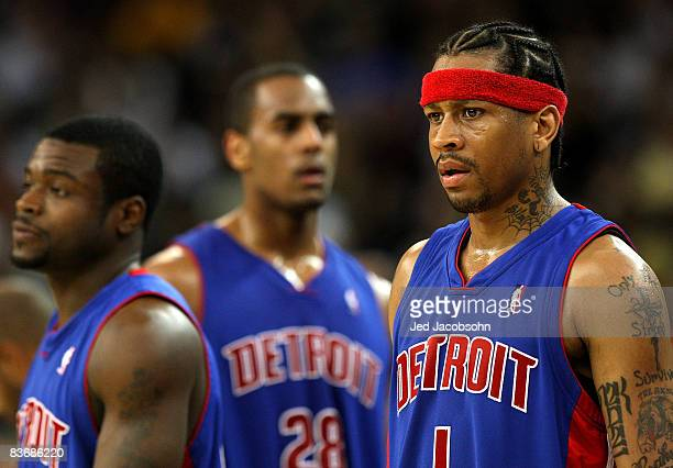 Allen Iverson of the Detroit Pistons looks on against the Golden State Warriors during an NBA game on November 13 2008 at Oracle Arena in Oakland...