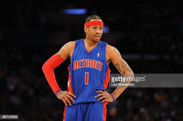 Allen Iverson of the Detroit Pistons looks on during the game against the Los Angeles Lakers at Staples Center on November 14 2008 in Los Angeles...