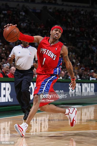 Allen Iverson of the Detroit Pistons moves the ball against the Milwaukee Bucks during the game on December 27 2008 at the Bradley Center in...