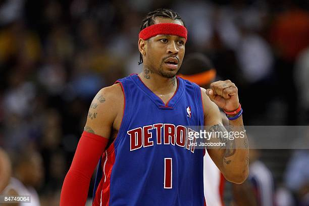 Allen Iverson of the Detroit Pistons reacts to a play during the game against the Golden State Warriors on November 13 2008 at Oracle Arena in...