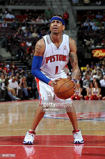 Allen Iverson of the Detroit Pistons shoots a free throw during the game against the Atlanta Hawks on February 11 2009 at The Palace of Auburn Hills...