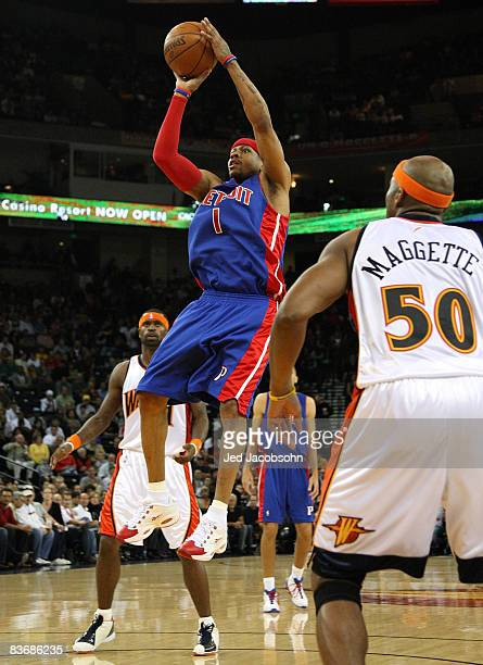 Allen Iverson of the Detroit Pistons shoots against the Golden State Warriors during an NBA game on November 13 2008 at Oracle Arena in Oakland...