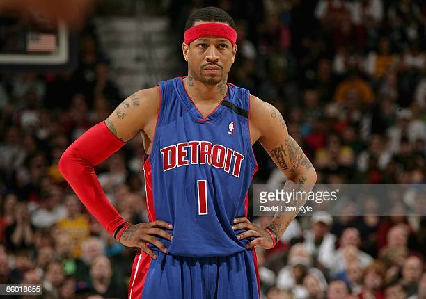 Allen Iverson of the Detroit Pistons stands on the court during the game against the Cleveland Cavaliers on March 31 2009 at Quicken Loans Arena in...