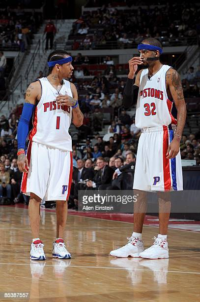 Allen Iverson of the Detroit Pistons talks to teammate Richard Hamilton during the game against the Atlanta Hawks on February 11 2009 at The Palace...