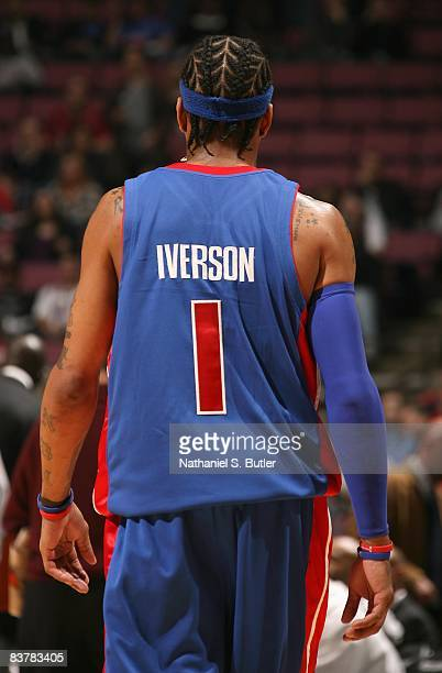 Allen Iverson of the Detroit Pistons walks down the court during the game against the New Jersey Nets on November 7 2008 at the Izod Center in East...