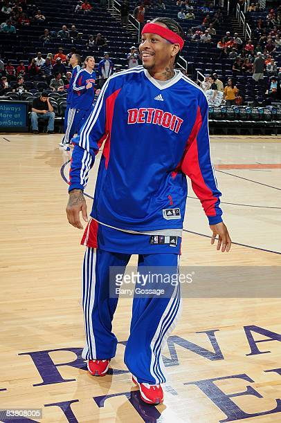 Allen Iverson of the Detroit Pistons walks on the court before the game against the Phoenix Suns on November 16 2008 at US Airways Center in Phoenix...