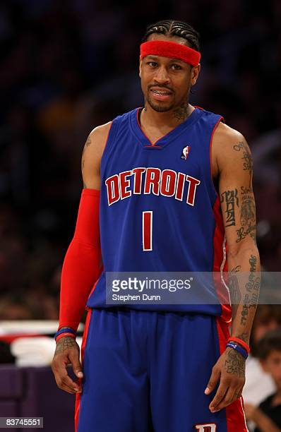 Allen Iverson of the Detroit Pistonsstands on the court during the game with the Los Angeles Lakers on November 14 2008 at Staples Center in Los...