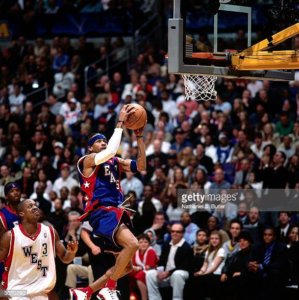 Allen Iverson of the Eastern Conference AllStars drives against the Western Conference AllStars during the 2004 AllStar Game on February 15 2004 at...