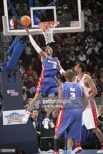 Allen Iverson of the Eastern Conference AllStars drives for a reverse layup against the Western Conference AllStars in the 54th AllStar Game part of...