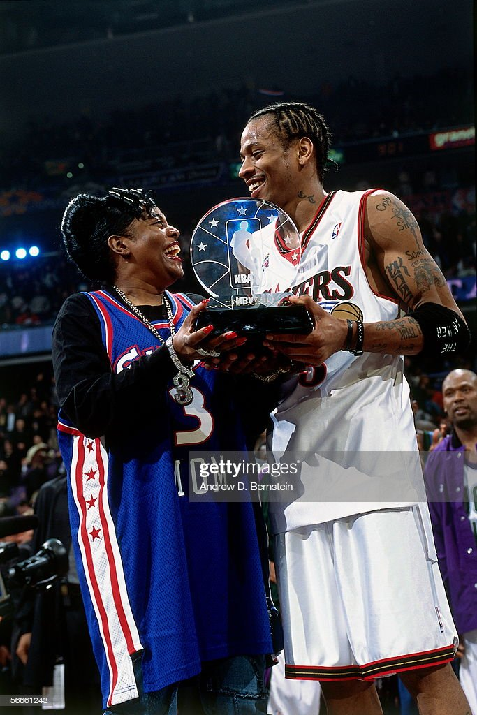 2002 NBA All-Star Game: Allen Iverson Postgame Portrait with MVP Trophy : News Photo