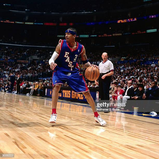 Allen Iverson of the Eastern Conference AllStars looks to drive against the Western Conference AllStars during the 2004 AllStar Game on February 15...