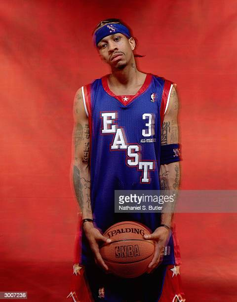 Allen Iverson of the Eastern Conference AllStars poses for a portrait on February 15 2004 at Staples Center in Los Angeles California NOTE TO USER...