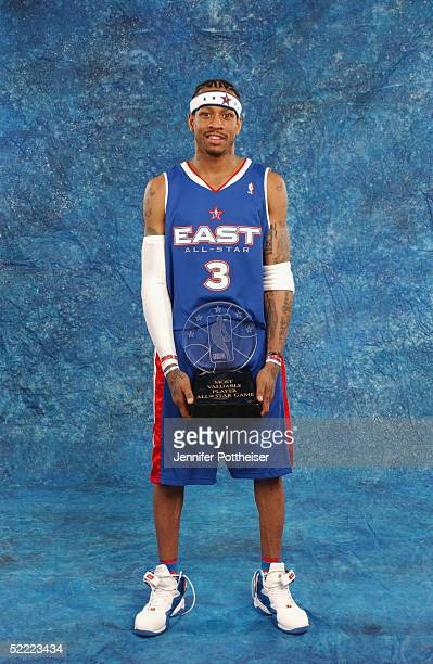 Allen Iverson of the Eastern Conference AllStars poses for a portrait with the MVP Trophy following the 54th AllStar Game part of 2005 NBA AllStar...