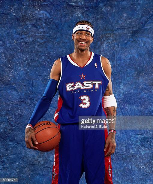 Allen Iverson of the Eastern Conference AllStars poses for a portrait prior to the 2005 NBA AllStar Game at The Pepsi Center on February 20 2005 in...