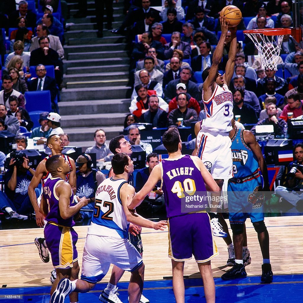 Allen Iverson Of The Eastern Conference Attempts A Dunk