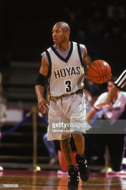 Allen Iverson of the Georgetown Hoyas during a basketball game at USAir Arena on January 10 1996 in Landover Maryland