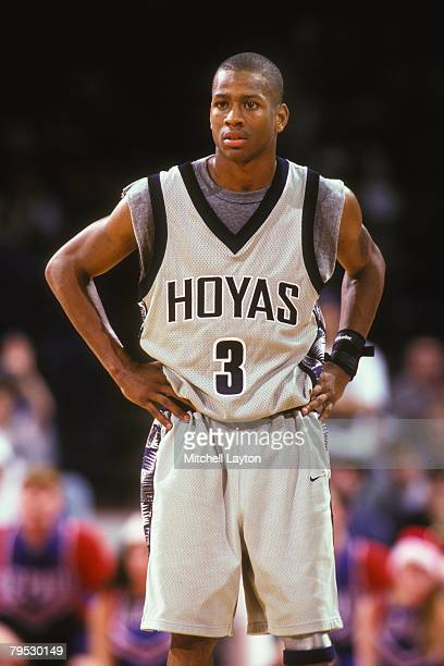 Allen Iverson of the Georgetown Hoyas during a basketball game against the Boston College Eagles at Capital Centre on January 10 1995 in Landover...