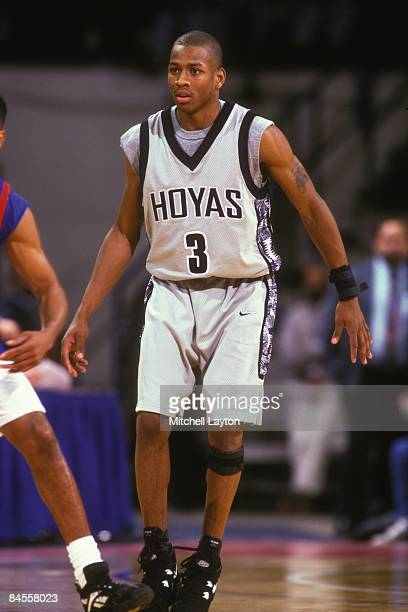 Allen Iverson of the Georgetown Hoyas during a college basketball game against the DePaul Blue Demons on December 1 1994 at USAir Arena in Landover...